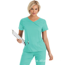 Women's Silky Soft Stretch Crossover Scrub Top with Shaped Waistline